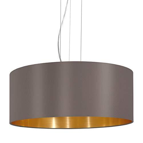 EGLO Pendellampe Maserlo, 3 flammige Textil Pendelleuchte, Hängeleuchte aus Stahl und Stoff, Farbe: Nickel matt, cappuccino, gold, Fassung: E27, Ø: 53 cm