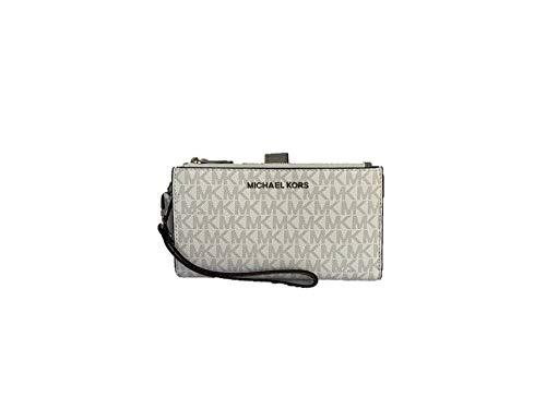 Michael Kors Jet Set Travel Double Zip PVC Signature Wristlet Wallet in Bright White, Medium