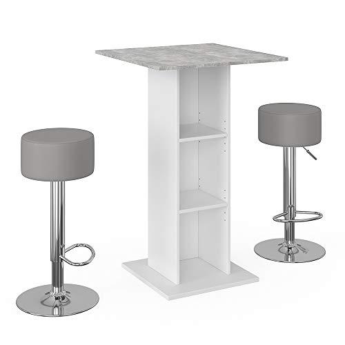 Vicco Bartisch Rodeo Stehtisch Loungetisch Tresentisch Tisch Küchentisch Regal wahlweise mit Regal (mit Barhocker)