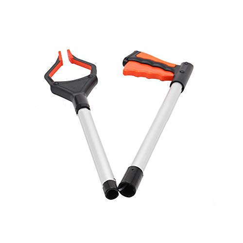 Recogedor de basura plegable, extra largo, herramienta de asistencia para alcance, recogida de basura para sillas de ruedas y discapacitados (naranja)
