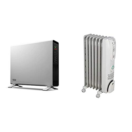 De'Longhi Convection Panel Heater, White & Oil-Filled Radiator Space Heater, Quiet 1500W, Adjustable Thermostat, 3 Heat Settings, Nice for Home with Pets/Kids, Light Gray, Comfort Temp EW7707CM