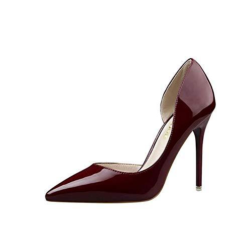 Elegant Damen High Heel Spitz Geschlossene Zehe Bequeme Lack Stilettos Party Büroarbeit Schuhe Pumps Abendschuhe Dunkelrot EU 39