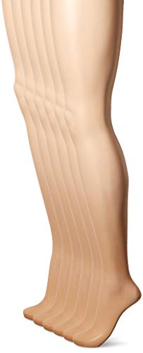 Hanes Silk Reflections Women's Control Top Pantyhose 6-Pack, little color, AB