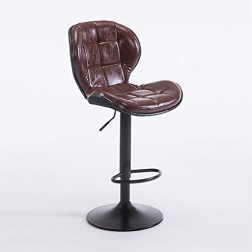ZUOANCHEN Barhocker Moderne Verstellbare Hocker Aus PU-Leder Mit Rückenlehne Höhe Geometrischer Stereo-Lounge-Sessel Drehhocker (Farbe : Brown)