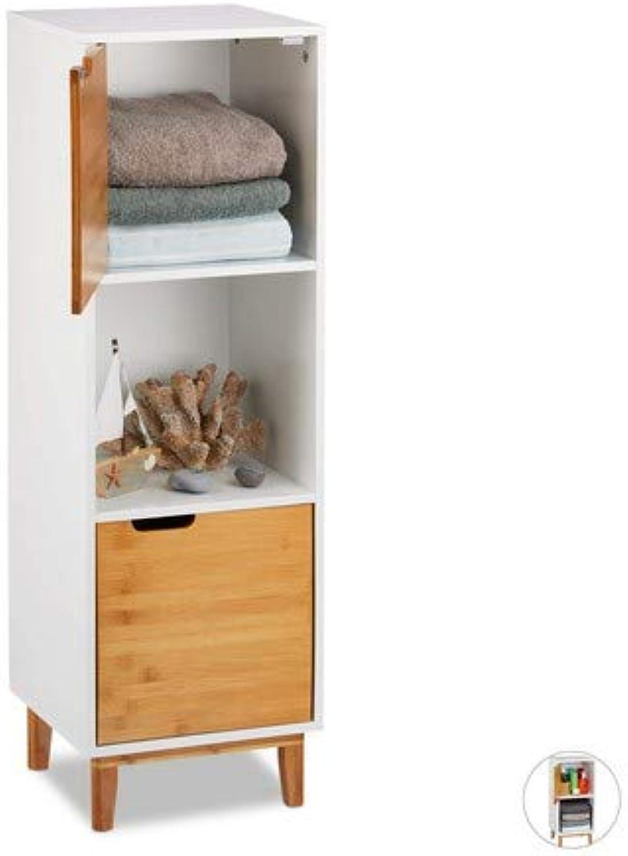 Relaxdays Standregal wei, Beistellschrank aus MDF und Bambus, Wohnzimmerregal, skandinavisch, HBT 101x32x30 cm, Weiß