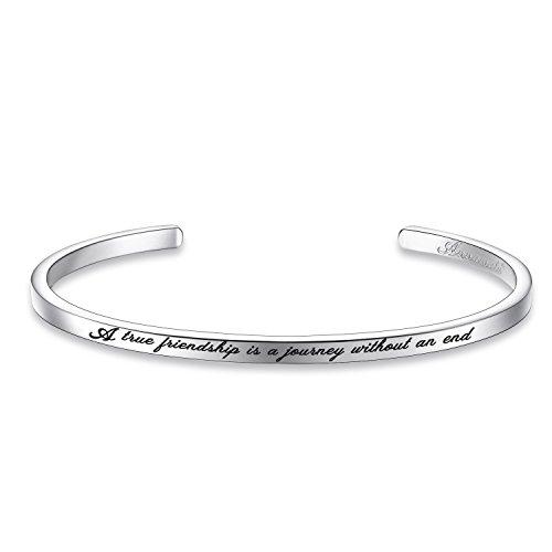 "Annamate Armband mit Gravur Damen Armreif, Inspirationaler Motivationstext ""A True Friendship is a Journey Without an end"" - Offener Manschette Boutique Armschmuck"