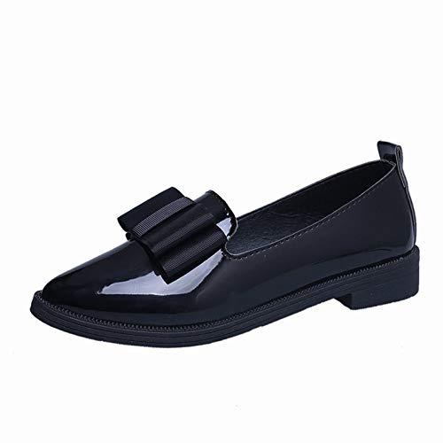 URIBAKY Femmes Chaussures Pointues à nœud Chaussures Basses décontractées Chaussures à Fond Plat et à Bouche Peu Profonde, Chaussures de Running sur Route Outdoor Course Fitness Respirantes Sneakers