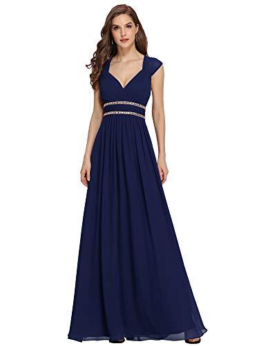 Ever-Pretty Robe de Soiree Demoiselle d'honneur Femme Longue Elegante 36 Bleu Marine