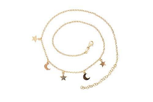 MAGICMOON - Mod. VTP10000342 - Ricercata collana da donna con ciondoli stelle e lune argento 925 rodiato placcato color oro