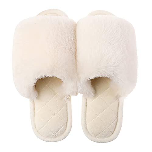 WEIXINMWP Zapatillas de Correa Cruzada de Las Mujeres Suave Peluche cómodo de Punta Abierta y cómoda y cómodos residuos Transpirables Zapatillas de Peluche,1,39/40