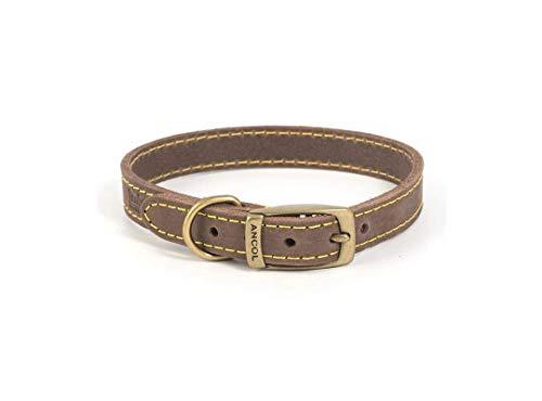 Ancol Timberwolf Leather Collar Sable 36-46cm M