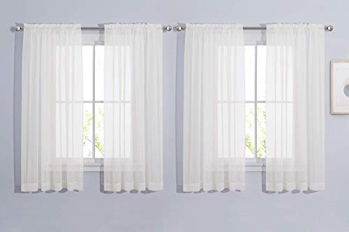 NICETOWN Voile Sheer Window Curtains for Half Window, Rod Pocket Elegant Airy Sheer Curtain Drapes for Living Room/Bedroom, W60 x L63, 4 Panels, Ivory