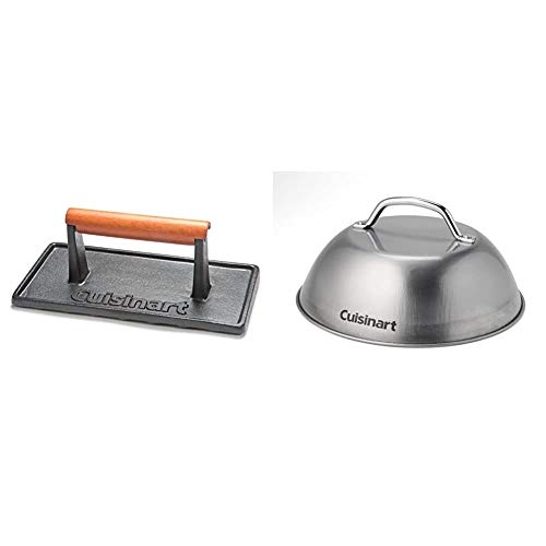 """Cuisinart CGPR-221, Cast Iron Grill Press (Wood Handle) & CMD-108 Melting Dome, 9"""",Stainless steel"""