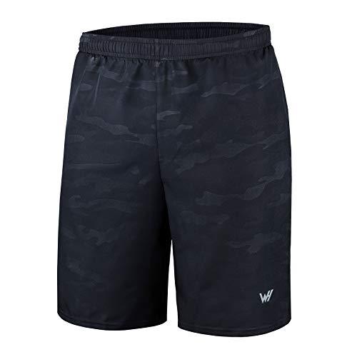 WHCREAT Para Hombres con Pantalones Cortos para Correr Bolsillos con Cremallera para Entrenamiento de Gimnasio XXL