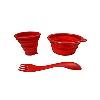 RVRLife Silicone Collapsible Bowl Cup Set with Durable Plastic Rim and Spork - BPA Free for Outdoor Camping, Hiking, Travel, Toddler Snacks, Mess Kit for Backpacking