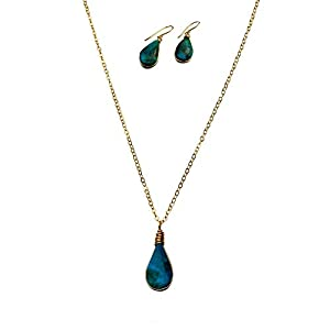 Chrysocolla Stone Jewelry Set for Women - Dainty Gold Fill Pendant Necklace and Earrings