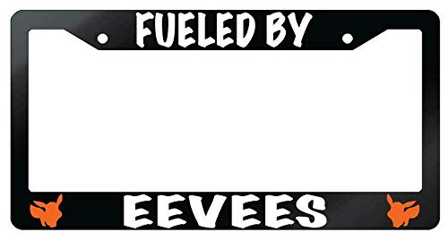 License Plate Frames, Fueled By Eevees Glossy Black Metal License Plate Frame Pokemon Universal Car License Plate Bracket Holder Rust-Proof Rattle-Proof Weather-Proof 15x30cm