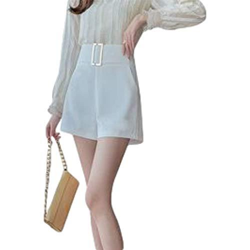 Pantalones Cortos de Pierna Ancha de Color sólido de Cintura Alta para Mujer Moda Relajada Simplicidad Casual...