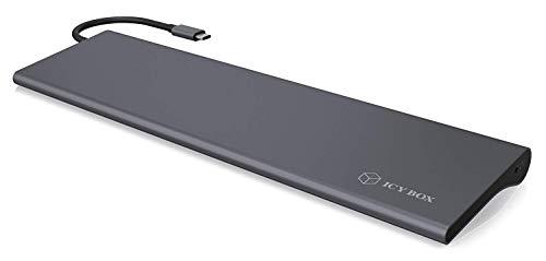 ICY BOX - Docking station USB-C per Windows, 4K HDMI, Mini DisplayPort, VGA, LAN, PowerDelivery, USB 3.0, lettore di schede audio, alluminio, antracite