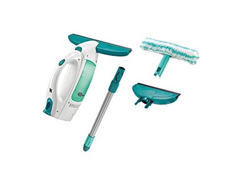 Leifheit Set de aspirador limpiacristales Dry & Clean con palo, limpiaventanasy boquilla estrecha, aspiradora vertical con autonomía de 38 minutos