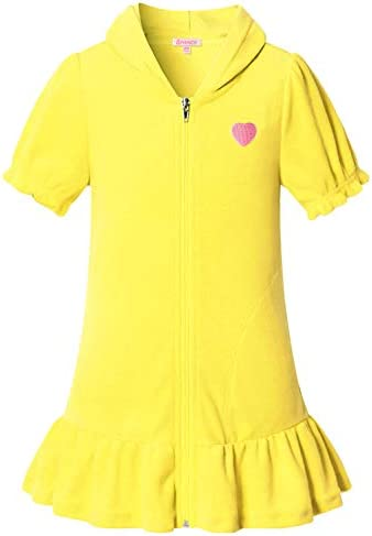 QPANCY Swim Cover Up for Girls Hooded Terry Zipper Cover Up Swimsuit Short Sleeve 8 9 Yellow product image
