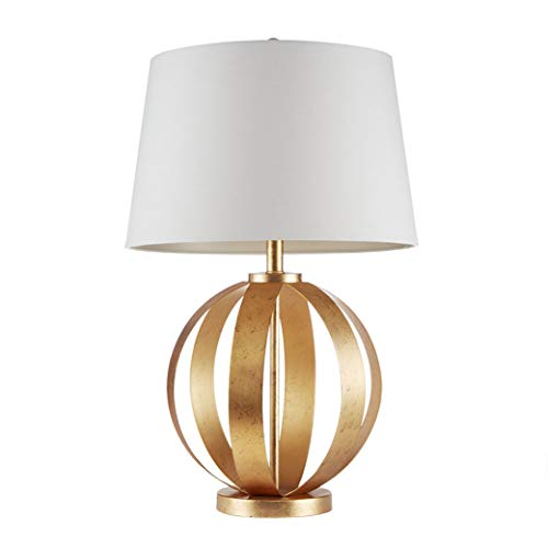 "Warren Round Gold White Table Lamp , Transitional Plug Metal Table Lamps for Bedrooms , 17""D X 17""W X 27""H , Orange"