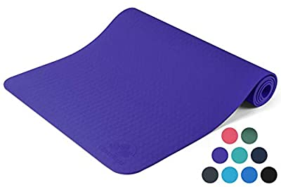 """Clever Yoga Mat BetterGrip Eco-Friendly With The Best Non-Slip and Durable TPE(6mm) – Comes With Our Special """"Namaste"""" Lifetime Warranty (Purple)"""