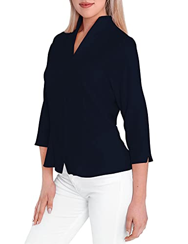 HEVENTON Damen-Bluse mit Kelchkragen Hemd-Bluse Stehkragen bügelleicht Tailliert Business 3/4 Ärmel 1205 Farbe Dunkelblau, Größe 38
