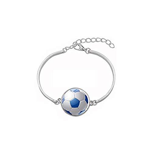 Youkeshan Pulsera de fútbol Maman Jewelry para futbol, pulsera de plata, regalo para jugador de fútbol, joyería de cristal