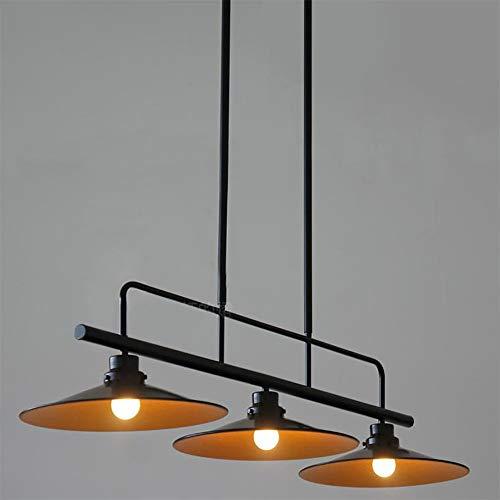 Jiafum Luces de Mesa de Billar rusticas, arana de Metal Industrial Retro para Sala Comedor Mesa de Billar Luces de Isla (3 Cabezas de lampara),Black