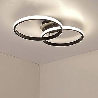 AUA Plafonnier à LED, lampe de plafond moderne 42 W, plafonnier LED double anneau 4500K 3360 lúmene, plafonnier en acryliq...