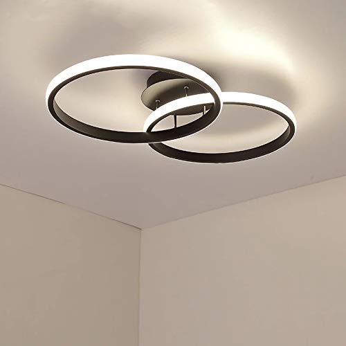 AUA Plafón LED, lámpara de techo moderna de 42 W, plafón LED techo doble anillo 4500K, plafón de acrílico negro para dormitorio 3360 lúmene, salón, estudio, oficina