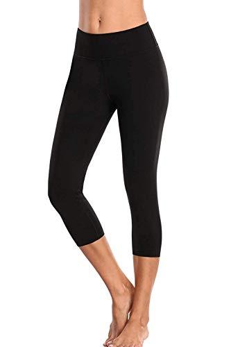 Anwell Yogahose Bauchweg 3/4 Leggins Blickdicht Schwarz Tights Push up Capri Yoga Tummy Control Workout Leggings S