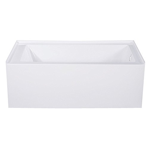 Kingston Brass VTAP543022R Aqua Eden 54-Inch Acrylic Alcove Tub with Right Hand Drain Hole, White