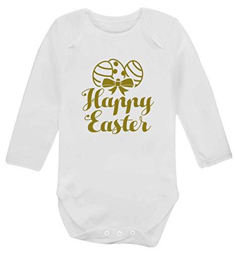 Flox Creative Gilet à Manches Longues pour bébé Happy Easter - Blanc - XS