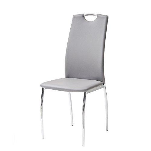 Cribel Alba Set Stuhl, Kunstleder, Metall verchromt, 4Stück Modern 43x65x104 cm grau