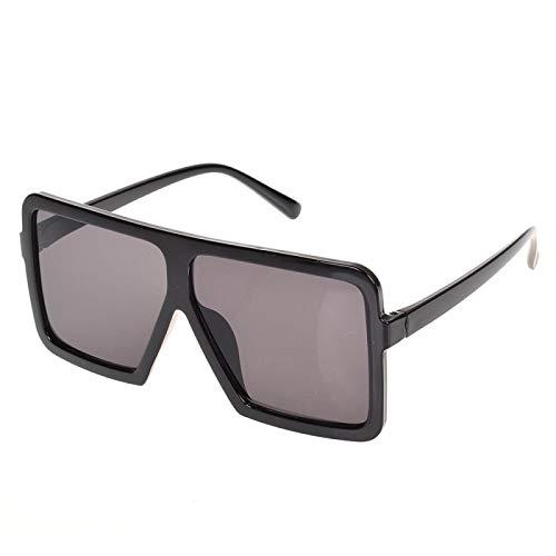 NJJX Gafas De Sol Cuadradas Planas Grandes Para Mujer, Montura Grande De Gran Tamaño, Deslumbrante, Gafas Unisex Para Conducir, Accesorios Para Automóviles, Negro, Gris