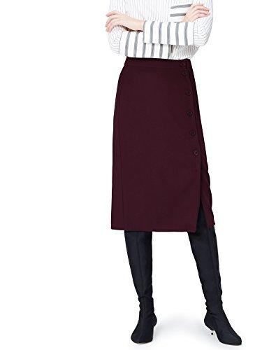 Marca Amazon - find. Falda de Botones para Mujer, Rojo (Wine), 40, Label: M