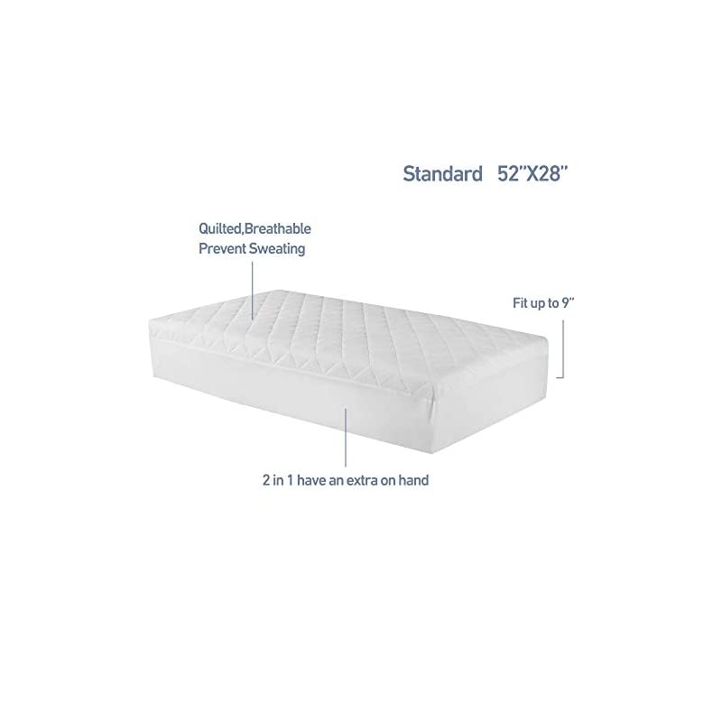 crib bedding and baby bedding soft waterproof crib mattress protector bamboo 2 pack 52 x 28 in baby toddler mattress cover quilted mattress pad with 9 in pocket breathable and noiseless