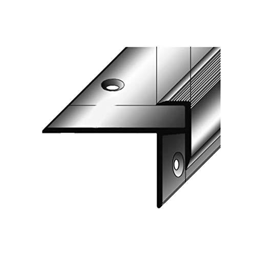 2 Meter (2 x 1 m) Laminat-Treppenkante / Winkelprofil, Einfasshöhe 8,5 mm, 33 mm breit, Alu eloxiert, gebohrt