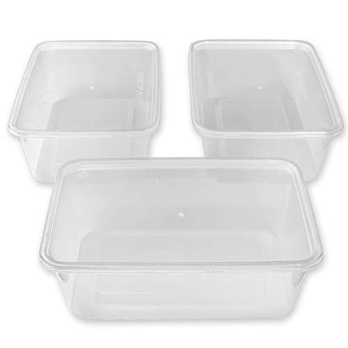Lot de 50 récipients alimentaires rectangulaires en plastique pour micro-ondes Transparent 750 ml