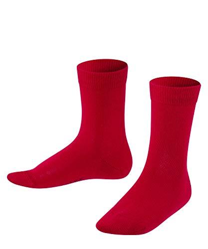 FALKE Unisex Kinder Family K SO Socken, Blickdicht, Rot (Fire 8150), 27-30 (3er Pack)