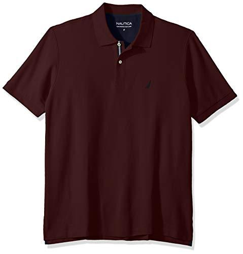 Nautica Men's Tall Classic Fit Short Sleeve Solid Performance Deck Polo Shirt, Royal Burgundy, 5X Big