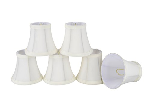 30035-6 Small Bell Shape Chandelier Clip-On Lamp Shade Set (6 Pack), Transitional Design in Off White, 5' Bottom Width (3' x 5' x 4 1/2')