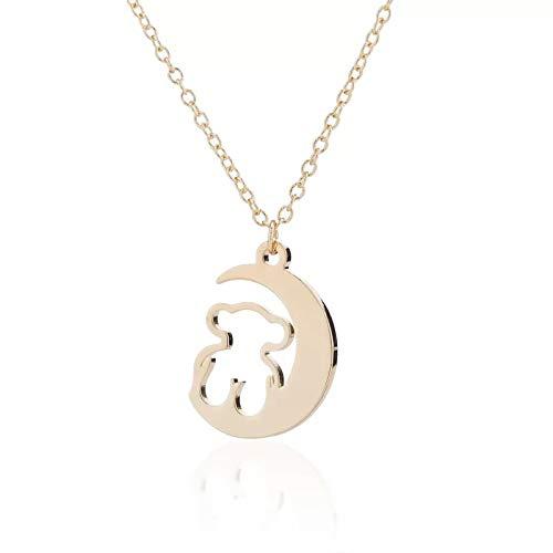 YioKpro Collar de Oso de Luna de Acero Inoxidable, joyería para Mujer, Collar de Animales a la Moda, Accesorios de Fiesta, Regalo de mamá Oso