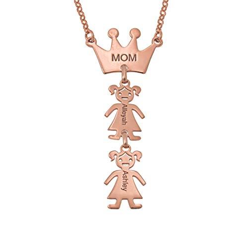 MOM Crown & Kids Colgante Collar familiar personalizado Collar con nombre Collar de promesa de plata Aniversario para mujeres(Oro rosa 18)