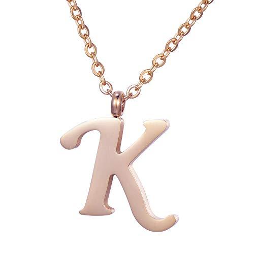 collana donna k MORELLA Collana da Donna in Acciaio Inox Oro Rosa con Ciondolo Lettera K