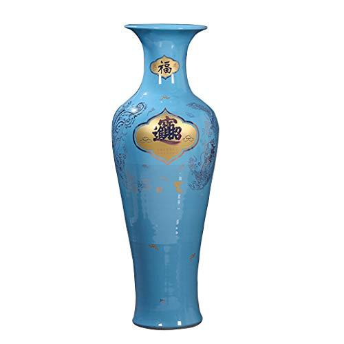 JCOCO FV China Jingdezhen keramische vloer grote vaas, hoge temperatuur Applique, visstaart fles, handgemaakte high-end kunst, groot huis, kantoor of hotel decor 120cm Blauw