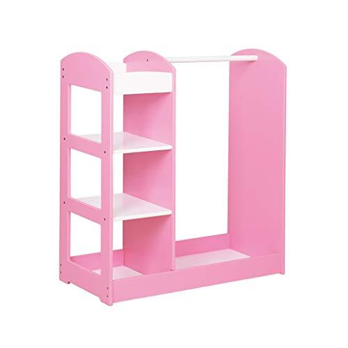 GYY Garderobe Kinder Kleiderbügel Kleiderbügel Haushalt Kombi Kleiderbügel Kinderzimmer Garderobe Schuhschrank mit Spiegel (Color : PINK, Size : 95 * 40 * 100CM)
