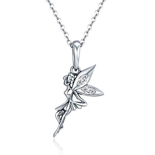 Collar con colgante de hada y flor de plata de ley 925, 100% auténtica, para mujer, collar de plata de ley